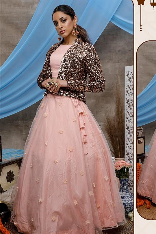 Designer Lehenga Choli In Pretty Peach Color Paired With Copper Colored Jacket STC0017