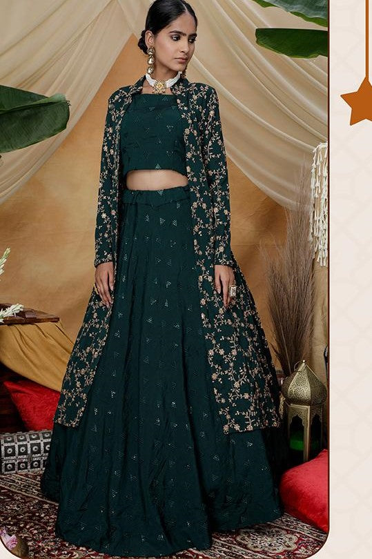 Designer Indo Western Lehenga Choli With Jacket In Pine Green Color STC0014