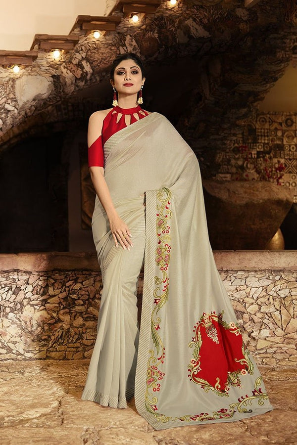 Designer Saree In Pale Grey Paired With Red Blouse STC3113