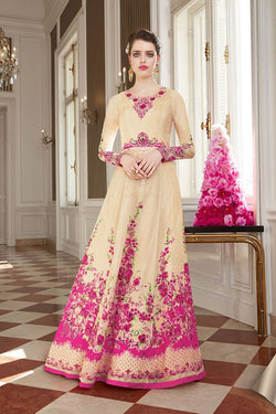 Designer Floor Length Suit In Cream And Pink Color STC 2081