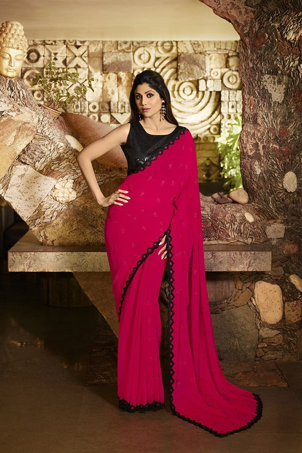 Attractive Looking Dark Pink Saree Paired With Black Blouse STC3107
