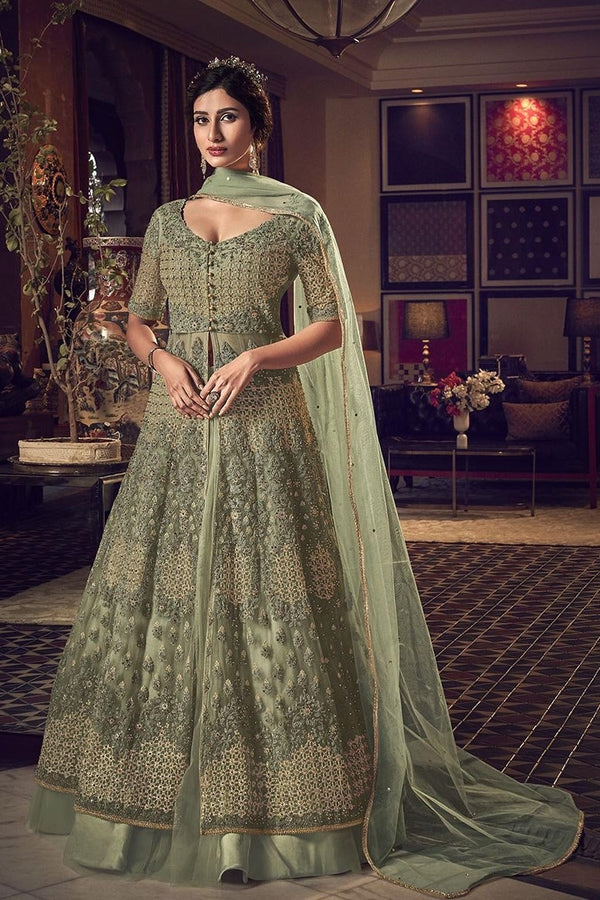 Beautiful Pastel Green Colored Two Way Designer Suit STC4047