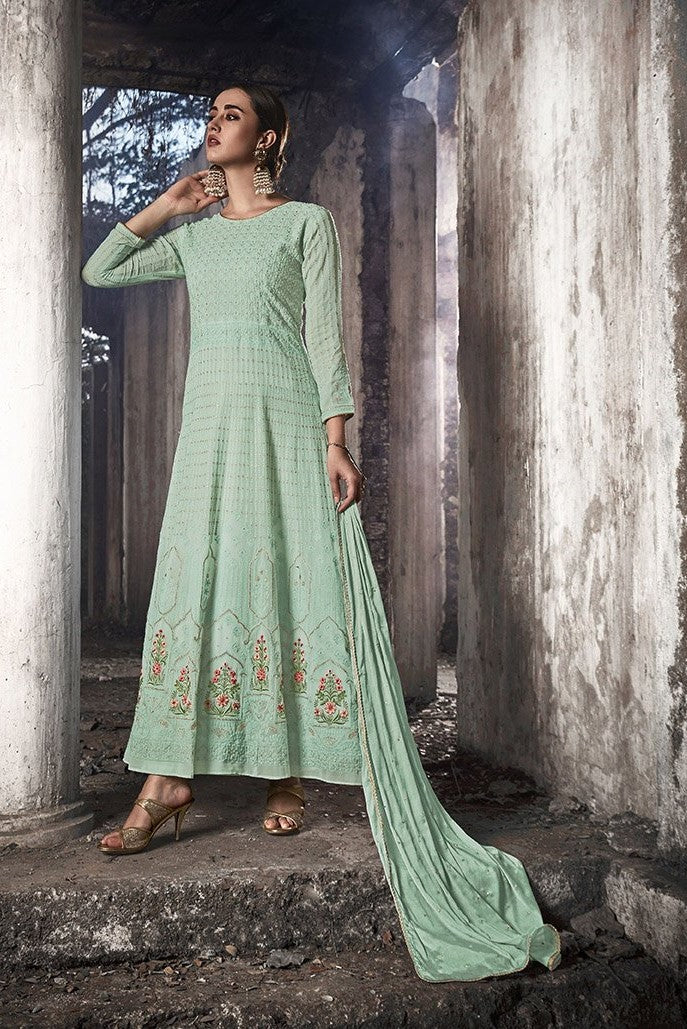 Designer Floor Length Suit Is In Attractive Pastel Blue Color STC 2023