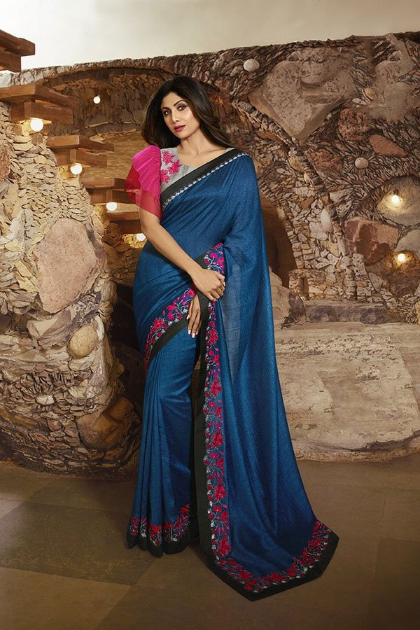 Beautiful Designer Saree In Royal Blue Paired With Grey And Dark Pink Blouse STC3115
