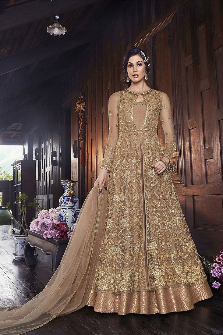 Designer Indo-Western Suit In Beige Color STC4059