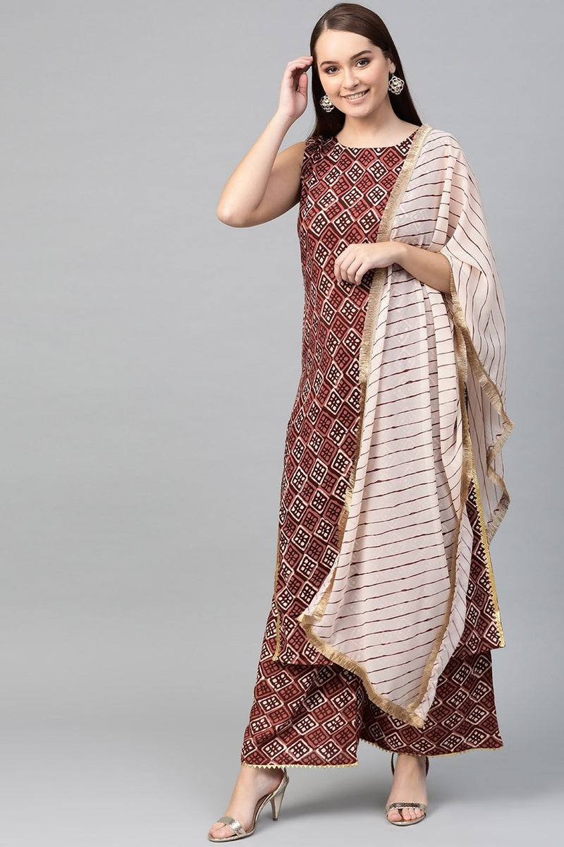 Brown Color Paired With Cream Colored Dupatta STC 2108