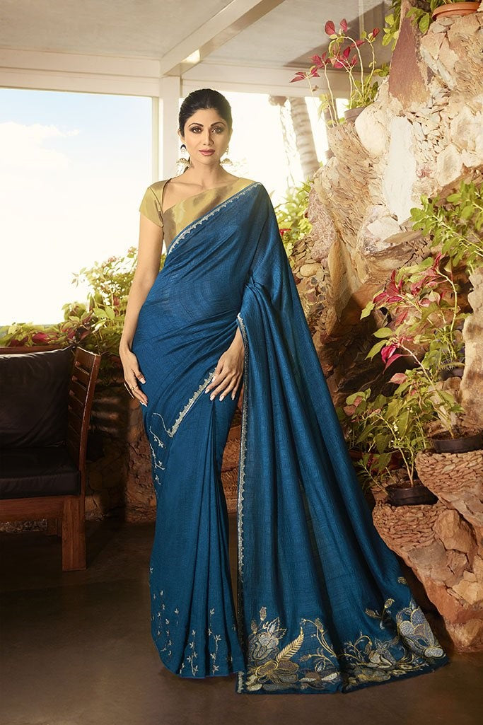 Designer Saree In Blue Paired With Elegant Golden Blouse STC3117