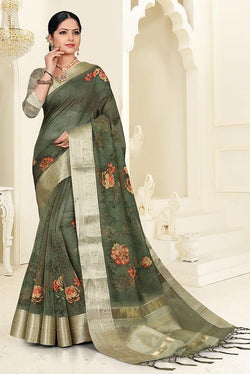 Floral Printed Designer Saree In Dark Green Color STC3038