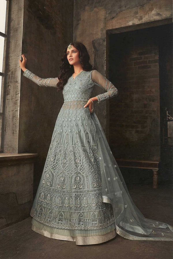 Designer Indo-Western Suit In All Over Grey Color STC4053
