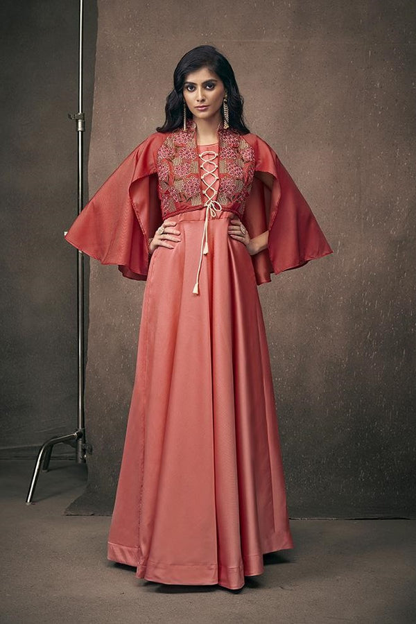 Designer Gown In Red Color Fabricated On Satin Silk STC4034