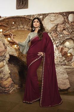 Designer Saree In Maroon Paired With Contrasting Teal Grey Blouse STC3109