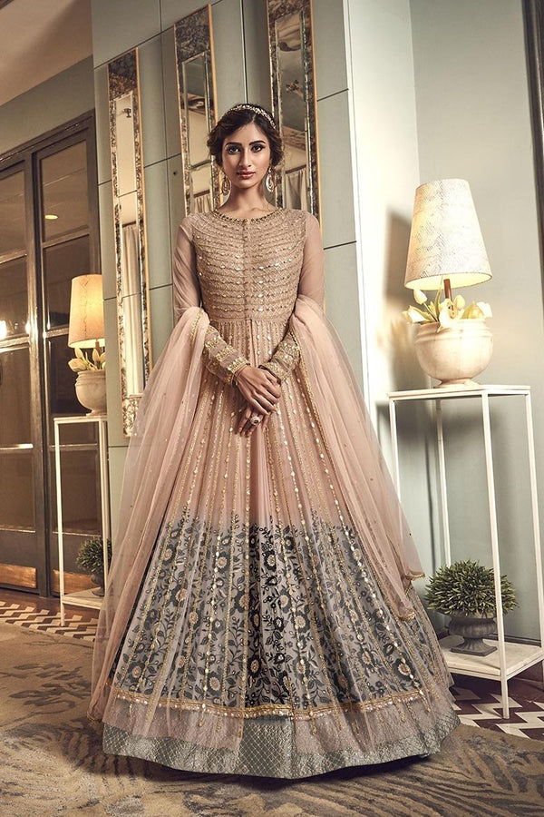 Designer Indo-Western Suit In Peach And Grey Color STC4037
