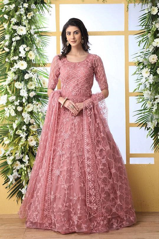 Designer Floor Length Gown In Pink Color Paired With Peach Dupatta STC4021