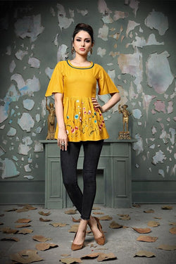 Designer Top In Yellow STC9017