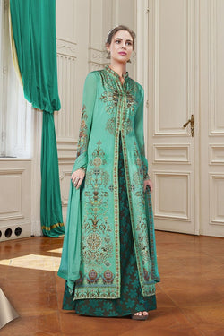 Designer Suit In Sea Green Color STC 2082