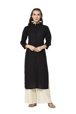Pretty Straight Kurti In Black Color STC9121