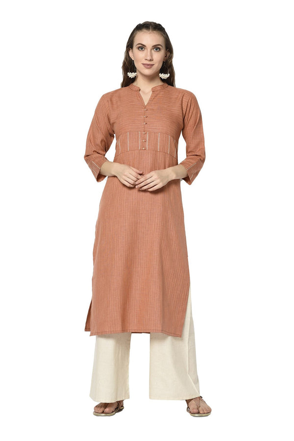 Pretty Straight Kurti In Brown Color STC9117