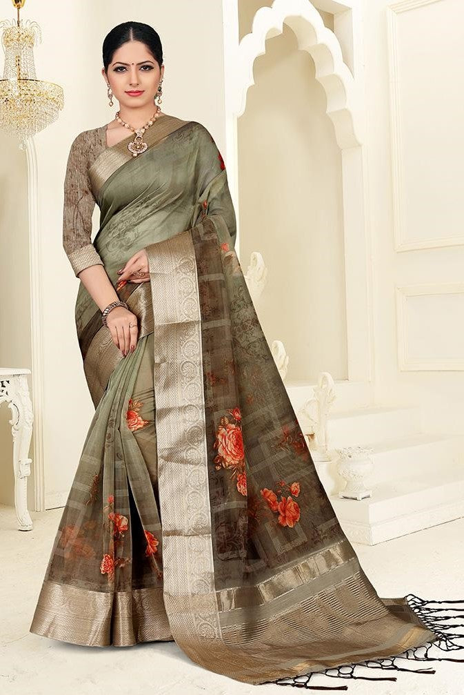 Printed Saree In Olive Green color STC3041