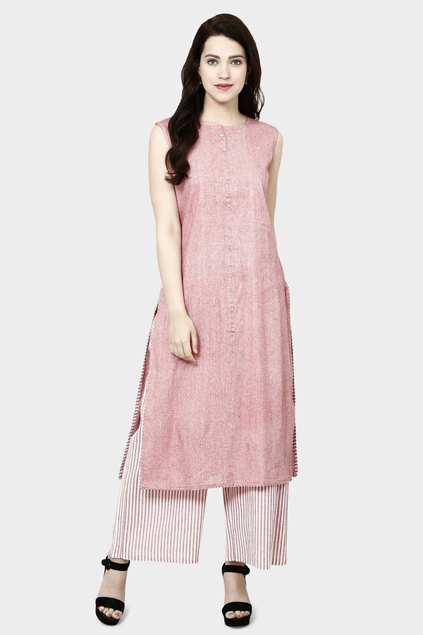 Kurti And Plazzo Is Here In Pink Color STC9132