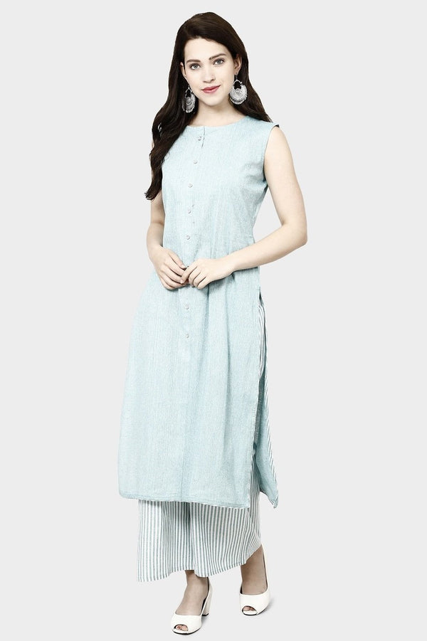 Kurti In Baby Blue Color Paired With Baby Blue Colored plazzo STC9133