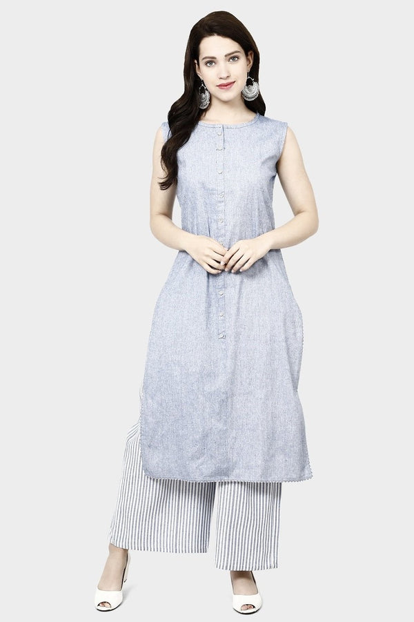 Kurti And Plazzo Is Here In Grey Color STC9134