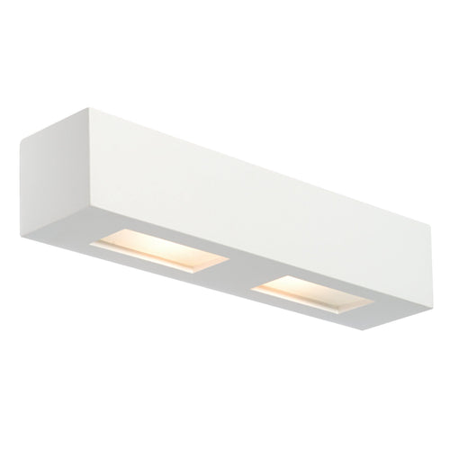 Gray Box 2lt Wall Lamp 28W White plaster & frosted glass - 10400