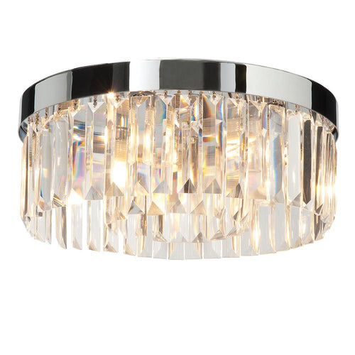 Bisque Saxby - Crystal 5lt flush IP44 18W Chrome effect plate & clear crystal (k9) glass detail - 35612