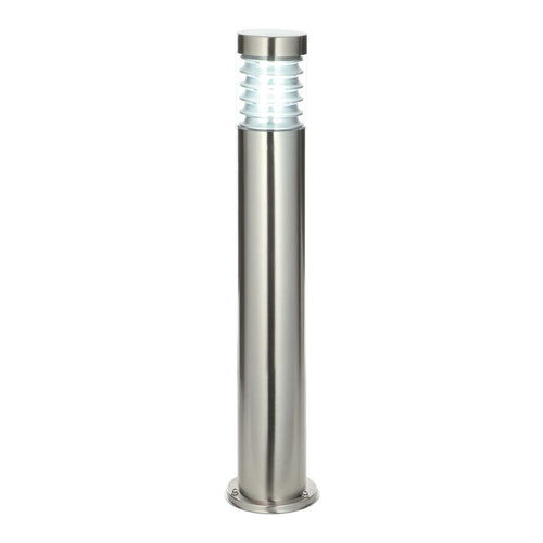 Gray Equinox bollard IP44 23W Marine grade brushed stainless steel & clear pc - 49911 equinox-bollard-ip44-23w-marine-grade-brushed-stainless-steel-clear-pc-49911