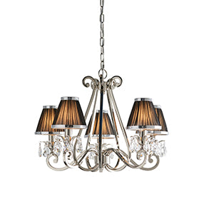 White Smoke Interiors 1900 - Oksana nickel 5lt Pendant 63506 interiors-1900-63506-multi-arm-shade-63506