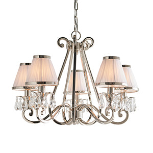 Beige Interiors 1900 - Oksana nickel 5lt Pendant 63515 interiors-1900-63515-multi-arm-shade-63515