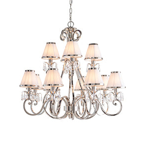 Beige Interiors 1900 - Oksana nickel 12lt Pendant 63517 interiors-1900-63517-multi-arm-shade-63517