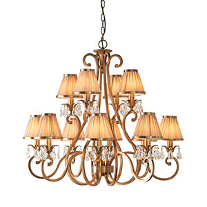 Tan Interiors 1900 - Oksana antique brass 12lt Pendant 63521 interiors-1900-63521-multi-arm-shade-63521