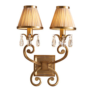 Sienna Interiors 1900 - Oksana antique brass 2lt Wall 63539 interiors-1900-63539-shade-63539