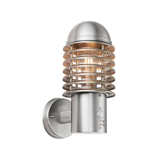 Rosy Brown Endon  Louvre PIR 1lt Wall Lamp Brushed stainless steel & clear pc - Stainless steel (304) & polycarbonate endon-louvre-pir-1lt-wall-lamp-brushed-stainless-steel-clear-pc-stainless-steel-304-polycarbonate