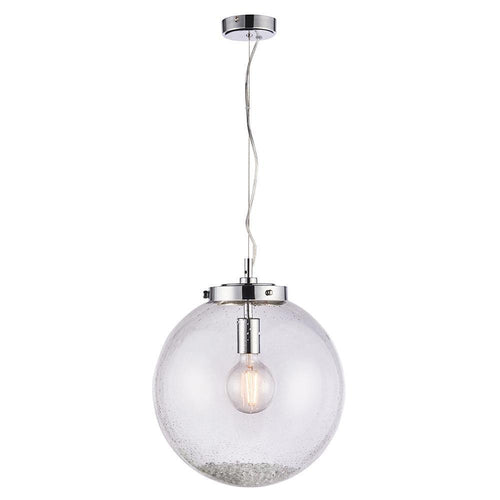 Lavender Harbour 1lt Pendant Chrome plate & clear glass with bubbles - Glass & steel - 5016087911004