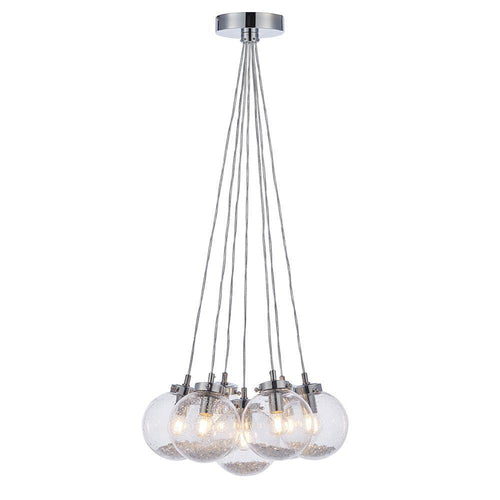 White Smoke Harbour 7lt Pendant Chrome plate & clear glass with bubbles - Glass & steel - 5016087911011