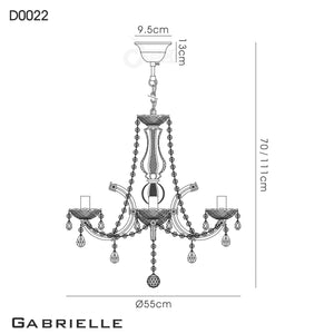 White Smoke Deco D0022 Gabrielle Chandelier With Acrylic Sconce & Glass Crystal Droplets 8 Light E14 Polished Chrome Finish