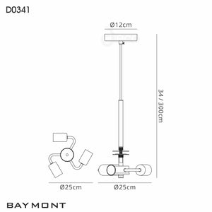 Snow Deco D0341 Baymont Satin Nickel 3m 3 Light E27 Universal Single Pendant, Suitable For A Vast Selection Of Shades