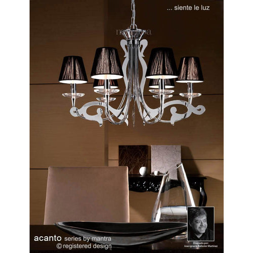 Dark Olive Green Mantra M0377 Acanto Pendant Round 6 Light E14, Polished Chrome With Black Shades