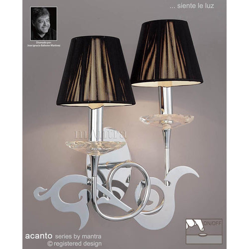 Dark Gray Mantra M0380/S Acanto Wall Lamp Switched 2 Light E14, Polished Chrome With Black Shades