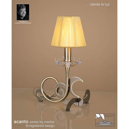 Rosy Brown Mantra M0381AB Acanto Table Lamp 1 Light E14, Antique Brass With Amber Cream Shade