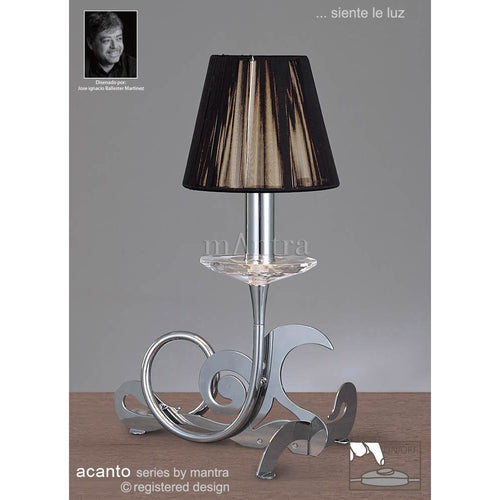 Light Slate Gray Mantra M0381 Acanto Table Lamp 1 Light E14, Polished Chrome With Black Shade mantra-m0381-acanto-table-lamp-1-light-e14-polished-chrome-with-black-shade