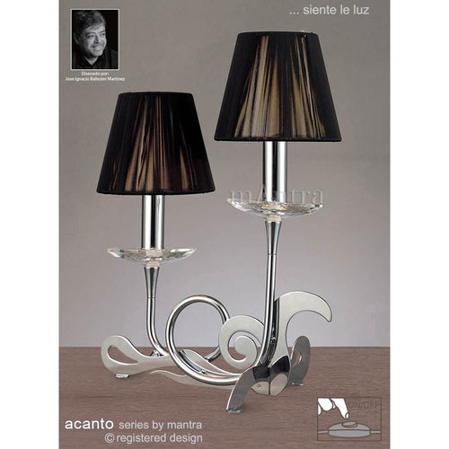 Dark Gray Mantra M0382 Acanto Table Lamp 2 Light E14, Polished Chrome With Black Shades
