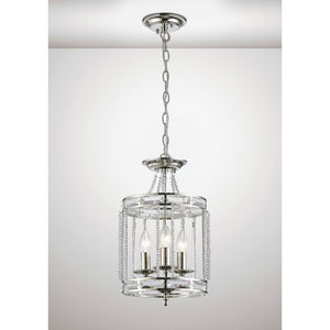 White Smoke Diyas IL31665 Adina Pendant 3 Light E14 Polished Nickel/Crystal