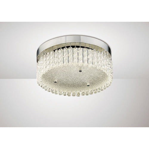 Gray Diyas IL80054 Aiden Small Round Ceiling 18W 1600lm LED 4200K Polished Chrome/Crystal