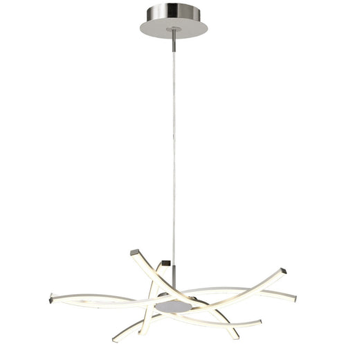 White Smoke Mantra M5912 Aire LED Pendant 69cm Round 42W 3000K, 3700lm, Dimmable Silver/Frosted Acrylic/Polished Chrome, 3yrs Warranty