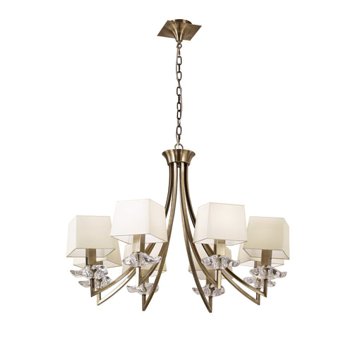 Beige Mantra M0780AB Akira Pendant 8 Light E14, Antique Brass With Cream Shades