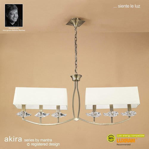 Beige Mantra M0781AB Akira Pendant 2 Arm 6 Light E14, Antique Brass With Cream Shades