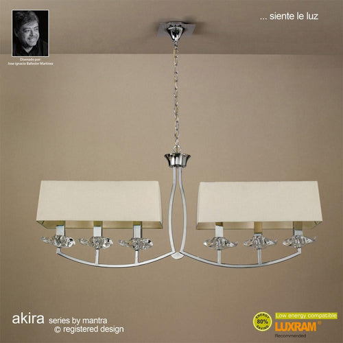 Rosy Brown Mantra M0781/CS Akira Pendant 2 Arm 6 Light E14, Polished Chrome With Cream Shades