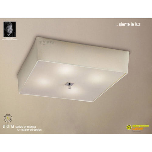 Gray Mantra M0785/CS Akira Ceiling 4 Light E27, Polished Chrome/Frosted Glass With Cream Shade